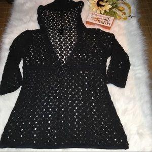 Soma Black Crochet Long Sleeve Pullover Coverup